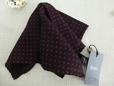 BN HUGO BOSS Tailored Burgundy 100% Wool Pocket Square Handkerchief Hankie