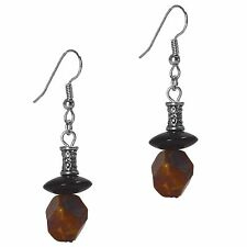 Dangle Beaded Fashion Earrings Silver Brown Agate & Black Onyx Grace Of New York