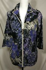 New Full Zip Stretch Shirt Womens Sz S ONQUE CASUALS Small Floral Leopard Jacket