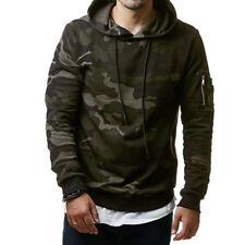 Men Camo Winter Slim Hoodie Warm Hooded Sweatshirt Coat Jacket Outwear Sweater