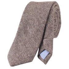 Vintage Brown Herringbone Mens Tweed / Wool Skinny Tie. Excellent Quality. UK.