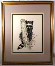 Raccoon Print Signed Mary Bland, Ltd Ed.108/500, Raccoon Pink Flowers Picture
