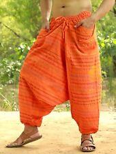 Men Cotton Orange Pockets Harem Yoga Pants Women Striped Drop Crotch Pants SC