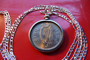 """1966 MINT IRISH HARP SHILLING COIN PENDANT on a 26"""" 925 STERLING SILVER Chain"""