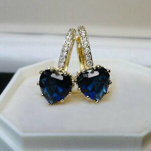 Womens Sim Sapphire Yellow Gold Plated Hoop/Drop Earrings, Perfect Gift, UK