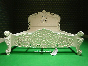 5' King size IVORY / CREAM French Style Mahogany Oriental Rococo bed