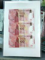 2017 Hong Kong Bank of China UNCUT 100th Commemorative Banknote $100 UNC
