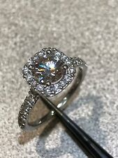 14k White Gold Engagement Ring Halo 1.04 CT center stone Gabriel & Co