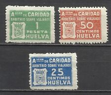 1137-SELLOS BENEFICOS CARIDAD HUELVA ARBITRIO VIAJEROS GUERRA CIVIL,NUEVOS.