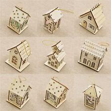 Süß Mini Holz Weihnachtsbaum Anhänger LED Licht Haus Deko Weihnachten Geschenk