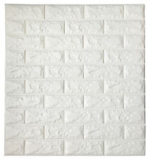2.6' x 2.3' Peel and Stick 3D Wall Panels White Brick Wallpaper, 1 Piece