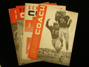 Lot of 4 Different Scholastic Coach Magazines – 1954, 1953, 1949, 1951