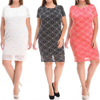 Women's Plus Size Lace Dress with Lining Black Coral Pink White 1X 2X 3X NWT