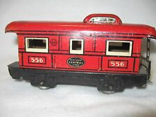 MARX O SCALE MAR LINES TRAINS RED # 556 NYC CABOOSE TIN LITHOGRAPHED 4 WHEEL