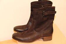 NIB PRADA Calzature Donna Capra Antic 1 Ebano Leather Ankle Boots sz 40 $990