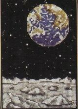 Earth Watch cross stitch chart Pattern Earth as seen from the moon