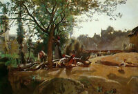 """Nice Oil painting Corot - Peasants under the Trees at Dawn Morvan canvas 36"""""""