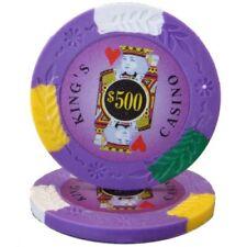 100 Purple $500 Kings Casino 14g Clay Poker Chips New - Buy 2, Get 1 Free