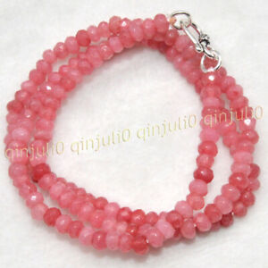 Fine 2x4mm Faceted Pink Rhodochrosite Roundel Gems Beads Necklace Silver Clasp