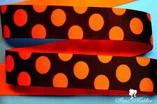 "5 yards 7/8"" Halloween Orange Polka Dot on Black Printed Grosgrain Ribbon"