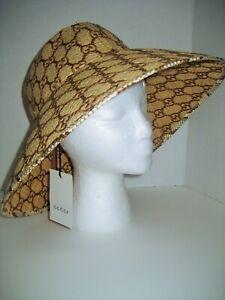 """NEW Gucci Women Medium 22.5"""" Snakeskin-Trimmed GG Embroidered Raffia Straw Hat"""