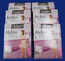 NEW 6 prs MEMOI Full Support 612 SHEER ENERGIZING Black PANTYHOSE sz - SMALL