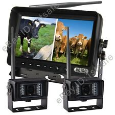 """WIRELESS BACKUP REAR VIEW REVERSE CAMERA SYSTEM 7"""" SPLIT LCD MONITOR+TWO CAMERAS"""