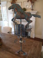 Handcrafted 3-Dimensional Running Horse Weathervane Copper Patina Finish 3D