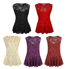 New Womens Plus Size Floral Lace Sequin Peplum Evening Party Dress Top 16-26