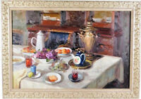 AUSTIM (20TH C.) FRUIT & TEA SERVICE STILL LIFE SIGNED OIL ON CANVAS