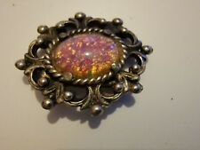 Vintage Foil Glass Dragons Breath Fire Opal Cabochon Silver Tone Floral Brooch