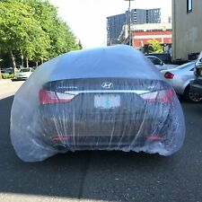 2 PACK Clear Plastic Temporary Universal Disposable Car Cover Rain Dust Garage