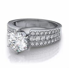 Certified 3.00 ct Round Cut Diamond channel set engagement ring 14K White Gold