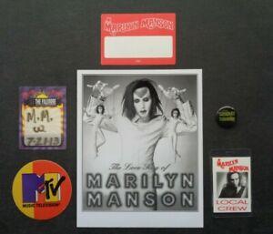 MARILYN MANSON,B/W Promo photo,4 vintage Backstage passes,metal pin/button