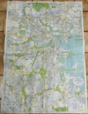 """Large Walker Map / Plan - """"BOSTON AND SURROUNDINGS"""" - Colored Lithograph - c1910"""