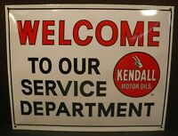 Kendall Motor Oil Porcelain Baked Sign Gas Oil Autos Welcome To Our Service Dept