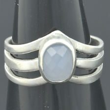 Handmade Vintage 925 Sterling Silver Ring Size 7.5 with 6*8mm Genuine Chalcedony