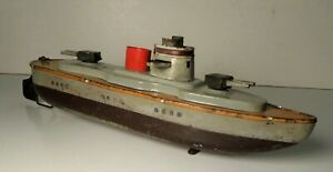 Tin Litho Windup Sparking  Arnold Battleship Gun Boat Marklin Carette Germany