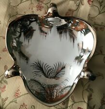 RARE Olive Commons Miami Florida Platinum Palm-Ware Signed 3 Handled Serving