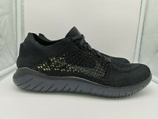Nike Free RN Flyknit 2018 Run UK 7.5 Black Anthracite 942838-002