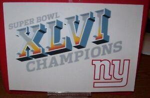 NEW YORK GIANTS SUPER BOWL XLVI CHAMPIONS 9X6 WINCRAFT DECAL STICKER