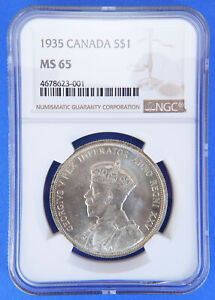 1935 $1 Canada Silver Dollar MS65 NGC One Dollar Silver Canadian Coin