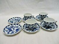 Vintage Vienna Woods Fine China Set (4) Tea Cup & (6) Saucer - Blue Onion (ARE)