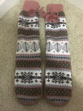 ADORABLE HOUSE SHOES SLIPPER SOCKS THICK WARM SIZE SMALL 6 7 COZY PINK BROWN NEW