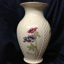 "ROYAL WINTON TALL VASE 10 3/8"" WHITE WITH FLOWERS GOLD TRIM EMBOSSED LATTICE"