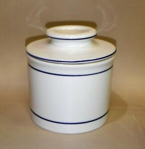Norpro ~ Butter Keeper ~ Blue Band on White ~ Item # 284-Stoneware Butter Bell