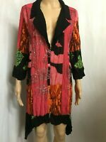 TAKING SHAPE SIZE 12 FUNKY COLOURFUL CRINKLED 3/4 SLEEVE ASYMMETRICAL TUNIC T