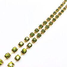 1 Metro Diamante Strass Cristallo Catena D'oro di base verde oliva indumenti Matrimonio