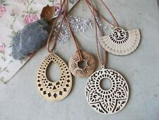 Large Wooden Necklace, Beautiful Wood Pendant & Cord,Vegetarian Vegan Friendly