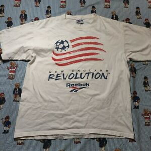 VTG 90s Reebok New England Revolution MLS Soccer Graphic T Shirt Adult XL USA
